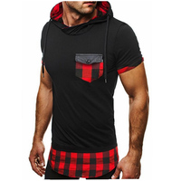 Mens T Shirt 2018 Summer Listing Patchwork Hooded Casual Man S Slim Fit Short Sleeve T