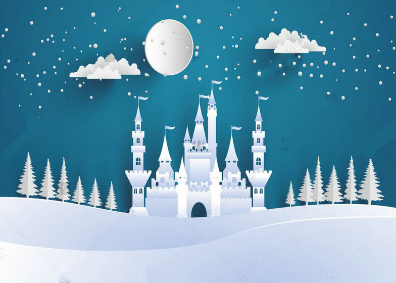 paper cloud snow hogwarts castle Winter Hill photo backdrop Vinyl cloth High quality Computer print wall Backgrounds