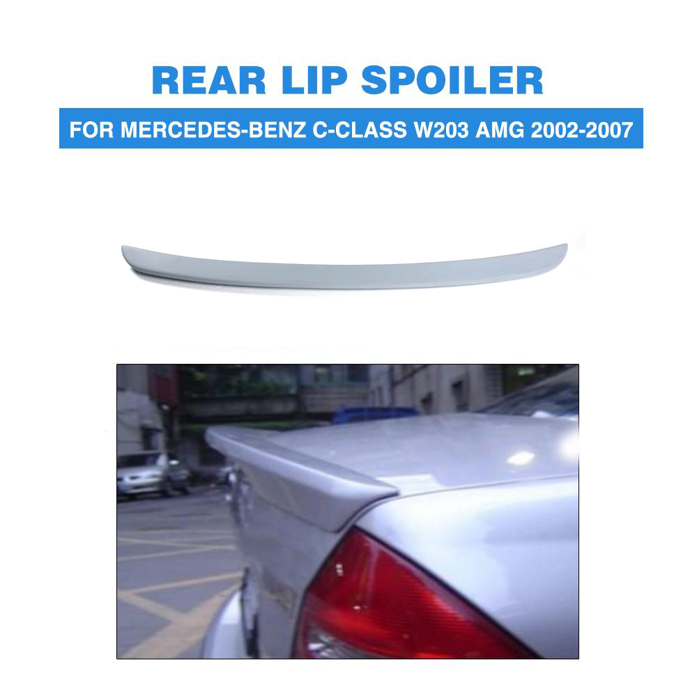 Rear Trunk Boot <font><b>Spoiler</b></font> Lip Wing For Mercedes-Benz C-Class <font><b>W203</b></font> AMG 2002-2007 PU Unpainted Grey Primer Car Tuning Parts image