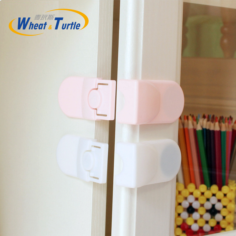 4pcs/lot Plastic Baby Children Safety Lock Double Snaps Right Angle Lock For Drawer Cabinet Fridges Infant Safety Protect Lock