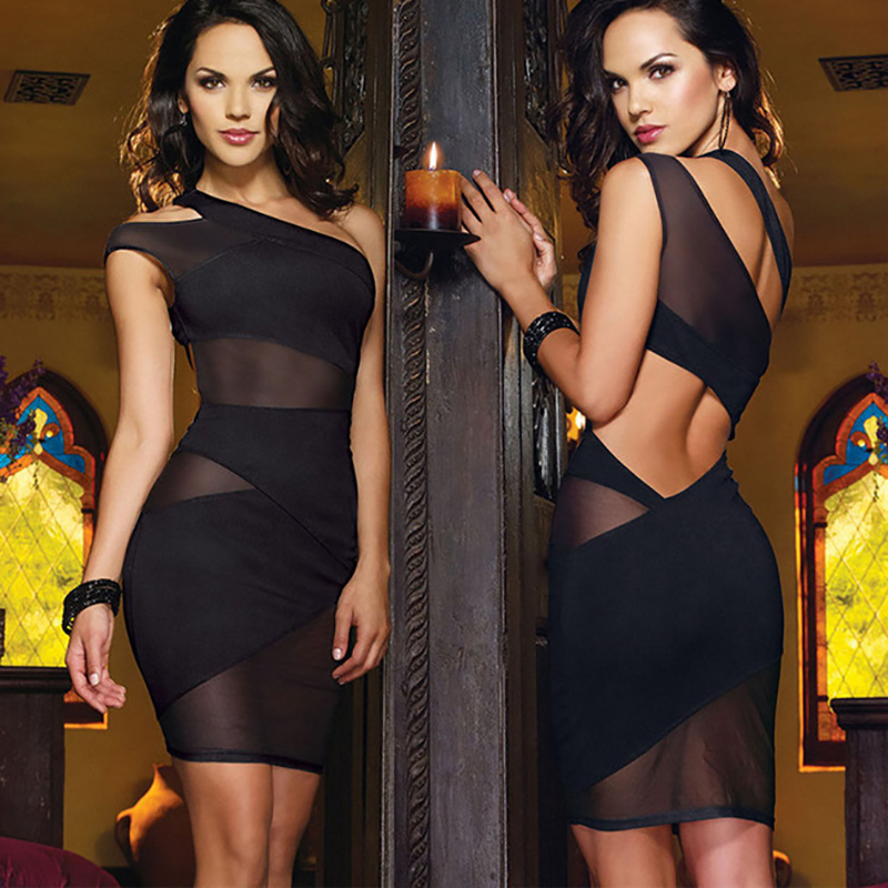 Lady Party Nightclub <font><b>Wear</b></font> One Shoulder Hollow Out Sheath Mini Fancy <font><b>Dress</b></font> Black Celebrity Dreses For Prom Ball <font><b>sexy</b></font> Dance image
