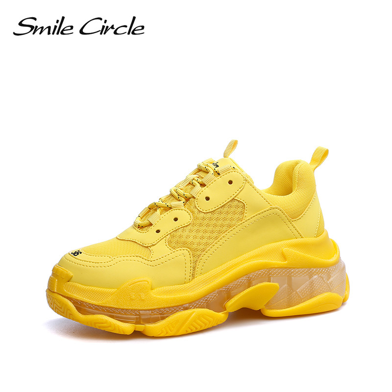 Sorriso Círculo grande tamanho 35-43 Fluorescente chunky Shoes As Sapatilhas Das Mulheres Lace-up sapatos de plataforma Plana para As Mulheres 6.5 centímetros de Espessura inferior