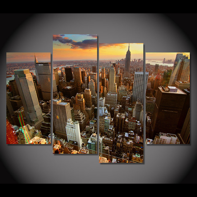 4 Pcs/Set Framed HD Printed New York Skyscrapers Art Picture Wall ...