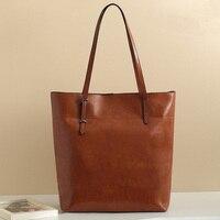 Promotion Fashion Genuine Leather Bags Wax Cowhide Shoulder Vintage Tote For Ladies Bolsas Femininas AL06
