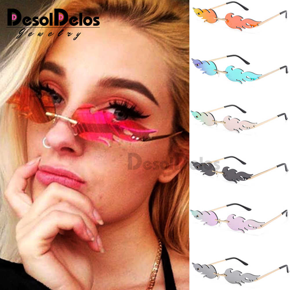 Mulheres Onda Sem Aro Homens Óculos de Sol Novo 2019 Moda Chama Fogo Sombra de Óculos De Sol óculos de Sol Óculos de Luxo Design Estreito Streetwear