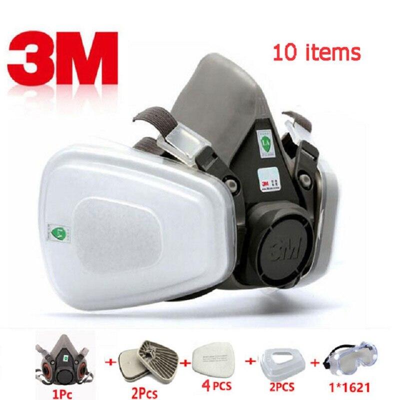 10 In 1 3 M 6200 Industrie Atemschutz Gas Maske Chemische Malerei Arbeit Schutz Pc Goggles/603 Adapter Für Staubdicht Maske