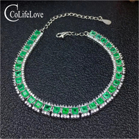 Super luxury emerald bracelet for wedding 32 pcs real natural emerald silver bracelet solid 925 silver emerald wedding jewelry