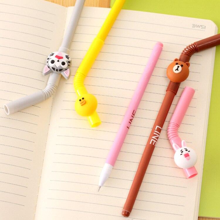 6-pz-lotto-paglia-Fumetto-penna-inchiostro-gel-Sveglio-Linea-amici-orso-Bruno-Doraemon-Stationery-Office (2)