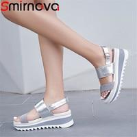 Smirnova casual comfortable summer new shoes woman buckle platform wedges shoes sandals women suede leather shoes