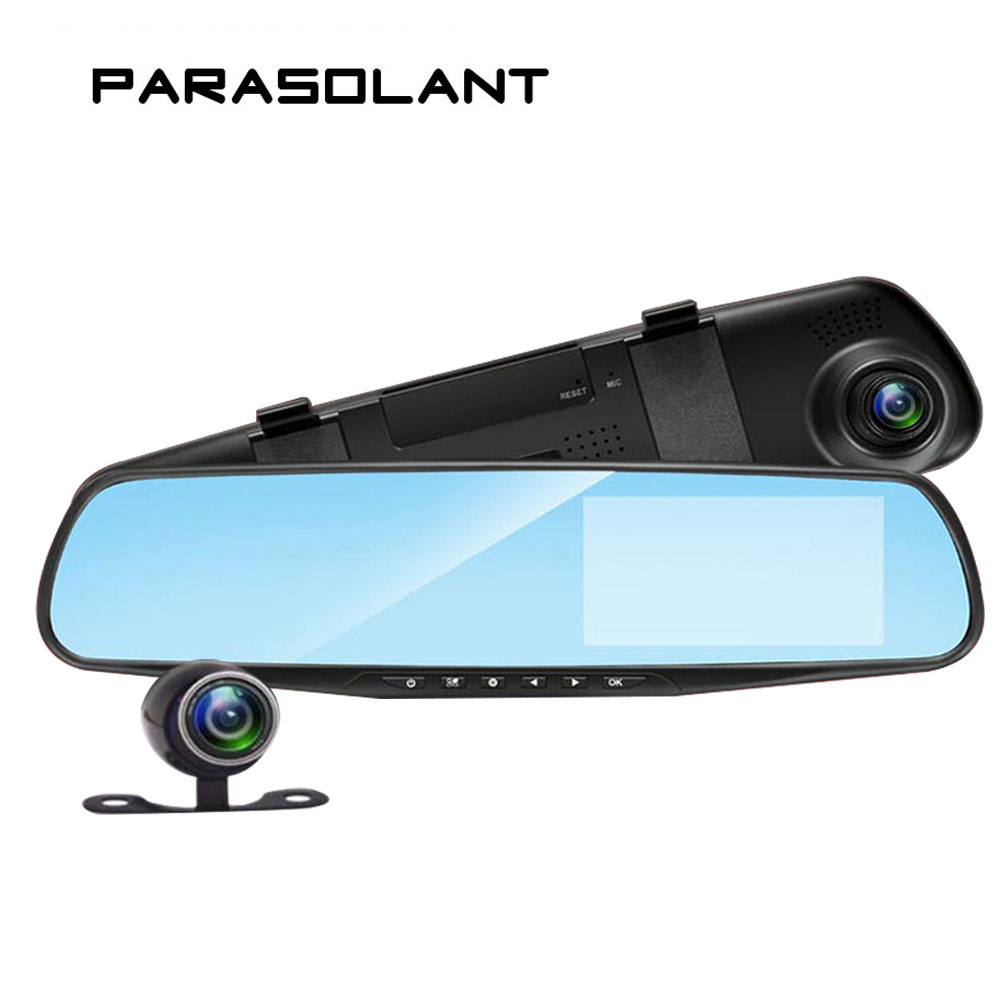 PARASOLANT  Auto 4.3 Inch Rearview Mirror Digital Video Recorder Dual Lens Registratory Camcorder Full HD 1080P Car Dvr Camera рем intex 59631