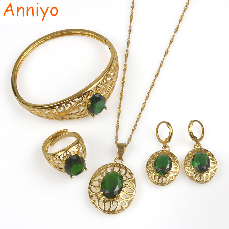 Anniyo RED BLUE GREEN Crystal Stone Jewelry set for Women Wedding Necklace Earrings Ring Bangle Best