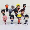 12 Unids/lote Anime Naruto Q Versión de Dibujos Animados Naruto Kakashi Sasuke Sakura PVC Modelo Juguetes Figura de Acción de Juguete Muñeca de Colección