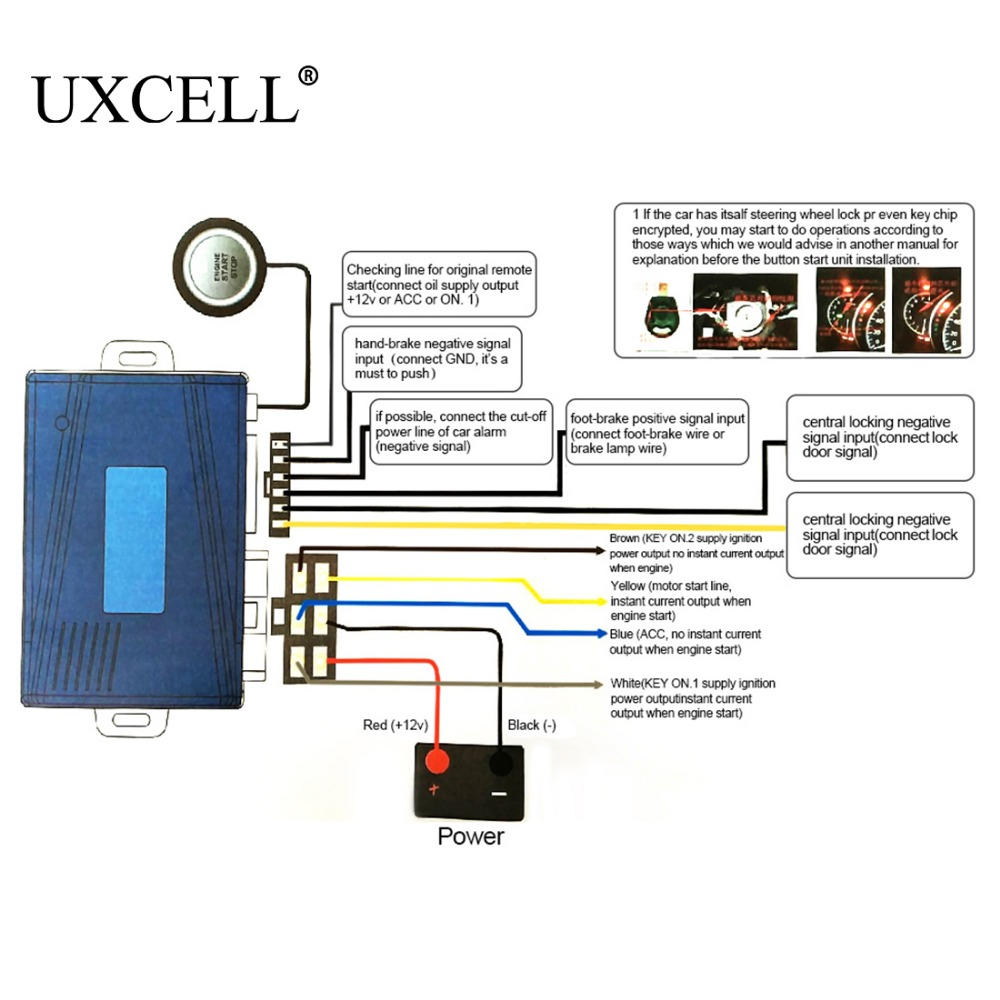 uxcell car universal engine start stop system with push button vehicle alarm device dc 12v in burglar alarm from automobiles motorcycles on aliexpress com  [ 1000 x 1000 Pixel ]