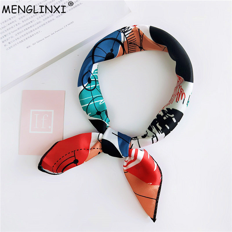 Women Scarf Summer Fashion Neckerchief Air Hostess Scarf Square Scarves For Ladies Satin Silk Scarf Head Band Neck Tie