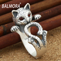 Electroplated Craft Cute Cat Copper Rings for Women Girls Gift Fashion Animal Finger Ring LHVR049