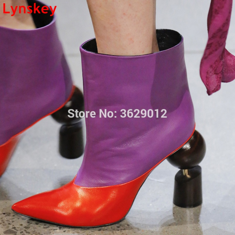 Sexy High Heel Short Boots For Women Pointed Toe Slip On Shoes Patchwork Fashion Autumn Strange Heel Ankle Boots spring autumn new fashion women pointed toe patchwork color ankle high heel boots western style elegant dress boots