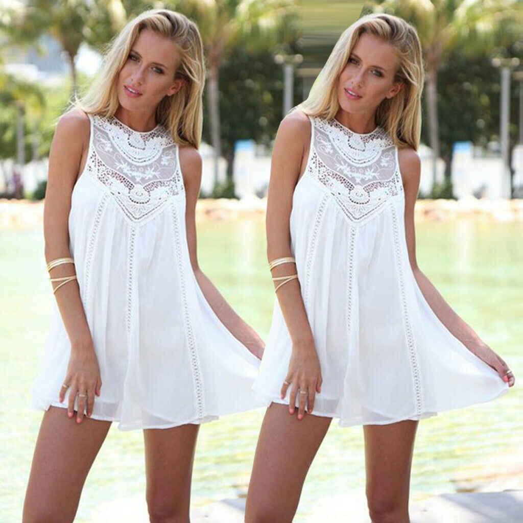 נשים ליידי קיץ Boho מודפס חוף מקרית Loose Slim שמלה קצר לבן תחרה ללא שרוולים שמלה קיצית