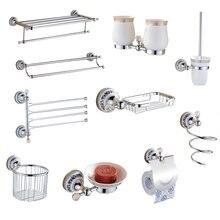 Европейские серебряные хрустальные аксессуары для ванной комнаты, хромированная отделка, керамическая пластина, антикварные аксессуары для ванной комнаты, подвесной костюм AX09