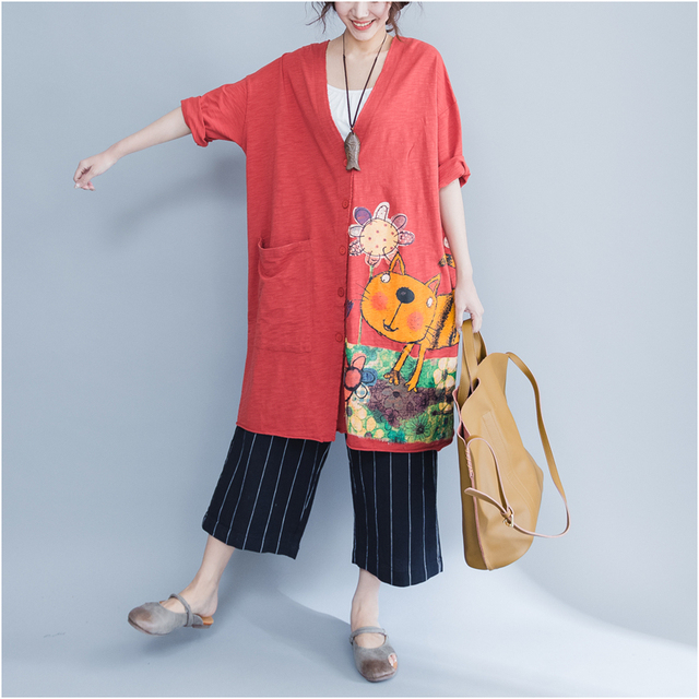 Plus Size 5XL 6XL 2018 Summer Women Fashion Kawaii Cat Print Bolero Tops Ladies Female Big Cotton Outwear Cardigans Jacket Coat 3