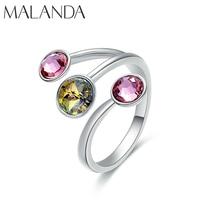 Malanda Новая Мода Открытое кольцо красочные круглый кристалл от кольца swarovski для женщин Свадебная вечеринка кольца интимные аксессуары пода