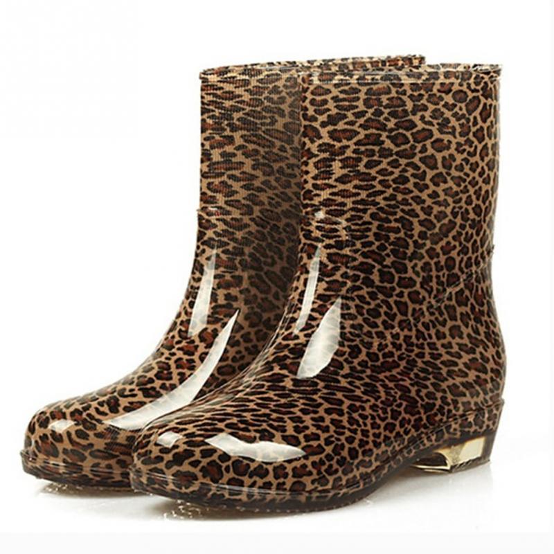 2018 Fashion Waterproof Women Rain Boot Female Boots Rubber Jade Stretch Shoes Leopard ,Black,Multicolor Printed fashion tassels ornament leopard pattern flat shoes loafers shoes black leopard pair size 38