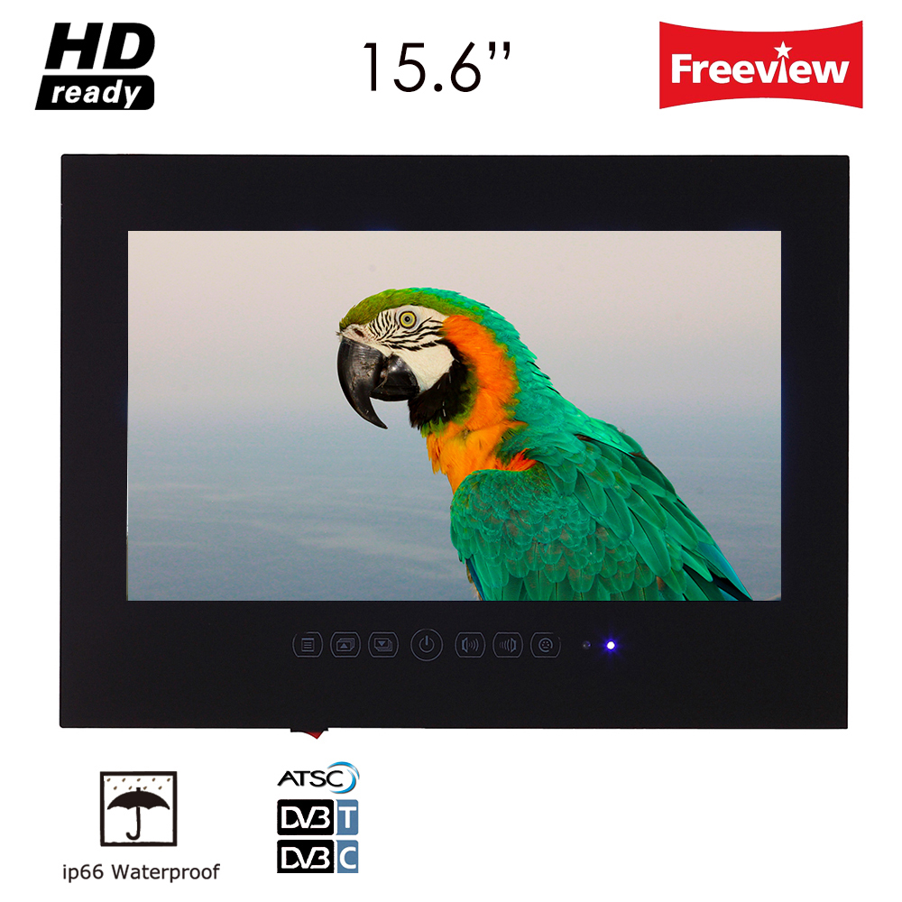 "Souria 15.6"" inch HD Black Bathroom Frameless IP66 Waterpoof LED TV (ATSC/DVB-T T2) USB Ports Mini Televisions"