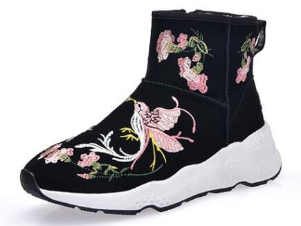 De cuero genuino de las mujeres bordado flores botas de tobillo de La Boca  baja de peluche corto botas nacionales tradicionales botas de estilo  20161214 en ... 0b652166279a9
