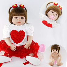 Brown straight hair big doll 56cm Reborn Baby Girl Doll Realistic Full Silicone Babies toy Pretty red dress Kids brinquedos
