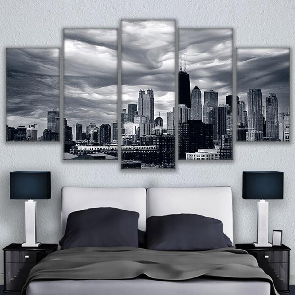 compare prices on chicago skyline online shopping buy low price modular picture painting 5 panel chicago skyline building modern printing type poster canvas painting hd print