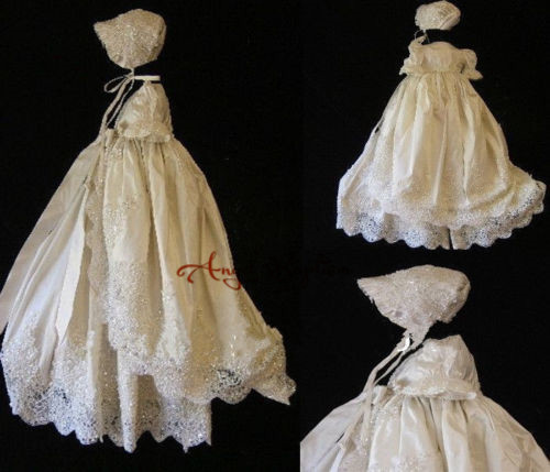 Toddler Infant Girl First Communion Dress Christening Gown with Bonnet Lace Long Sleeves 2 Tieres Baby Baptism Robe Gowns