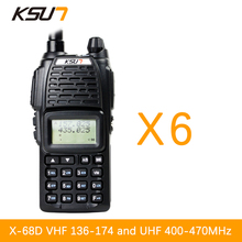 (6 PCS)KSUN UV68D Ham Two Way Radio walkie talkie Dual-Band Transceiver UHF/VHFDouble frequency BUXUN X-68D(Black)