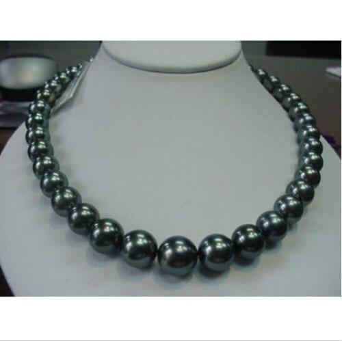 Бесплатная доставка Лидер продаж >>>@@ as1848 Очаровательная AAA + 11 12 мм черный жемчужное ожерелье 18