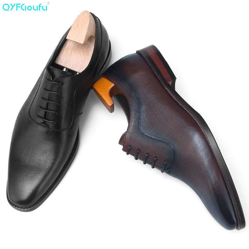 QYFCIOUFU 2019 Luxury Designer Men Genuine Leather Dress Shoes Wedding Brand Male Oxford Italian Lace-up