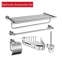 5 piece Bathroom Accessories 24 inch Bathroom Shelf with Towel Bar Toilet Brush Holder 304 Stainless Steel Brushed Wall Mounted