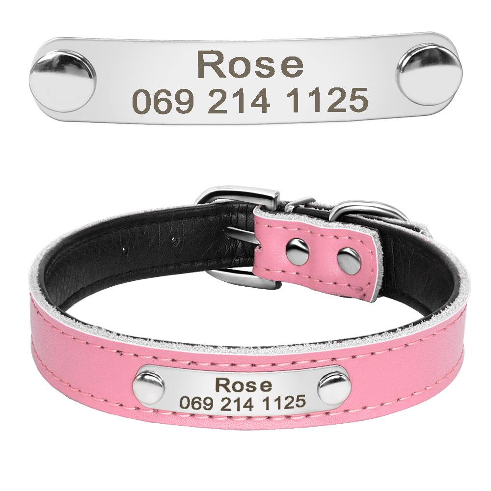 Collar de perro de cuero con relleno interior personalizado con placa de identificación grabada 13
