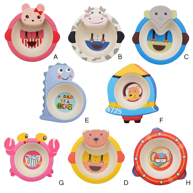 Kids Tableware Bamboo Supplement Cartoon Portable Food Friendly Fiber Baby Environmentally Set Dinnerware Bowl