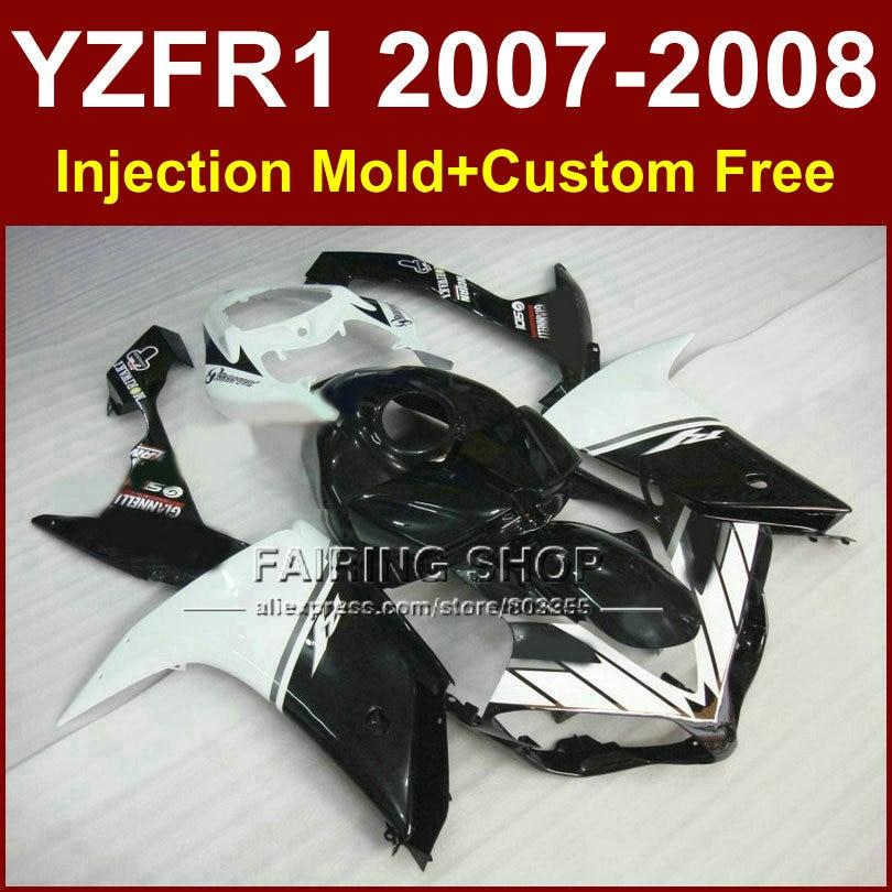 White black fairing set for YAMAHA YZFR1 2007 2008 fairings kits R1 YZF R1 bodyworks YZF1000 YZF 1000 07 08 +7Gifts CD5F