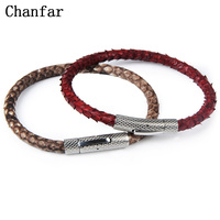 Chanfar Real Snake Skin Titanium Bracelet Men 316L Stainless Steel Braided Leather Bracelet Women For Christmas