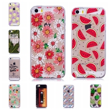 Soft TPU silicone case For Apple iphone 5 5S phone cover Cactus CAT Cartoon watermelon unicorn pineapple Painted para caso coque