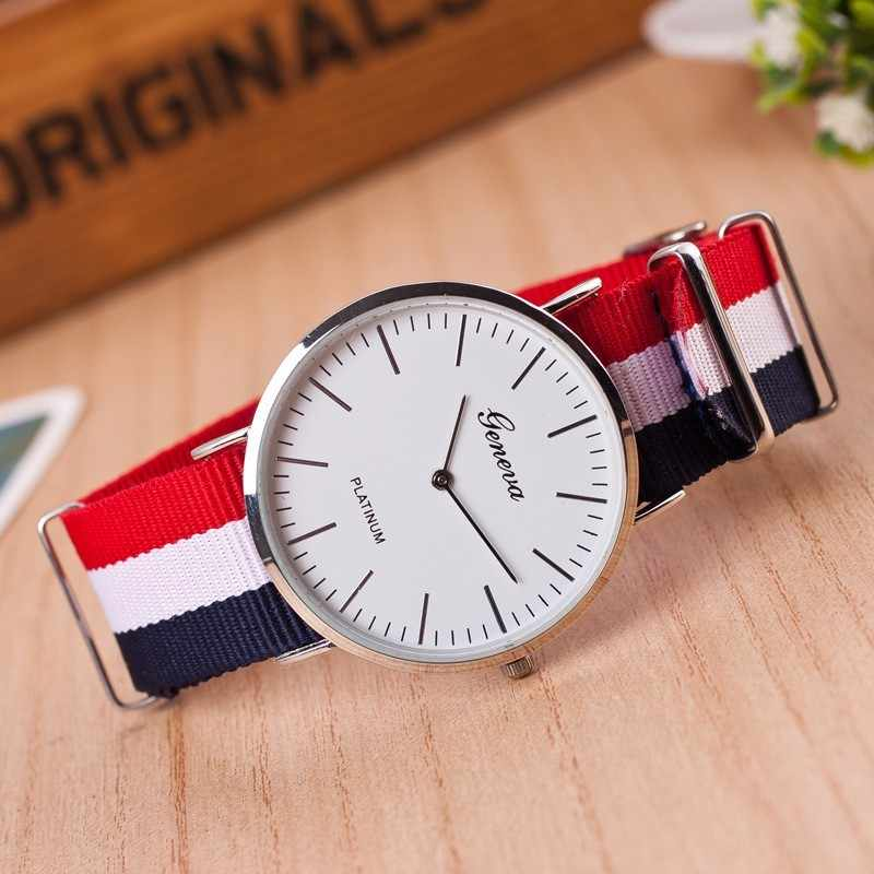 Hot brand Geneva Quartz Watch Men Women casual Unisex Nylon strap Dress watches Fashion women's watches Relogio feminino