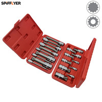 SPIFFLYER 10PC XZN Triple Square Spline Bit Socket Set Extra Long Type 100mm Short Type S2 Bit,Cr V Socket Metric 4mm 18mm