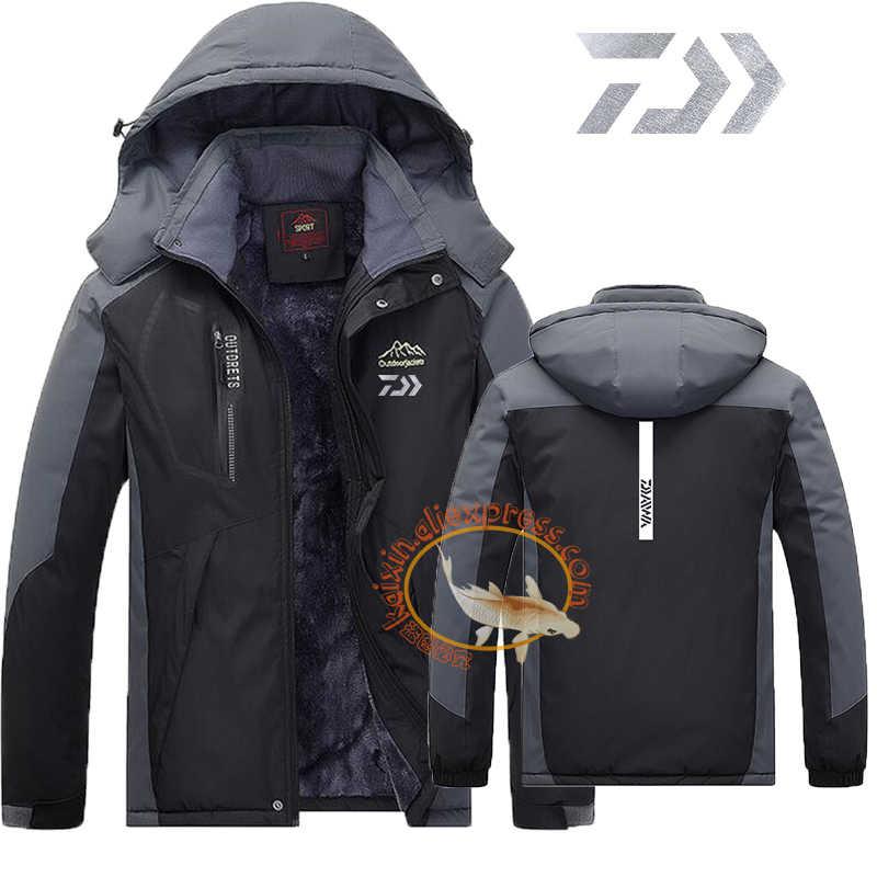 9160ece1537 2019 Daiwa Fishing Clothing Winter Men Women Autumn Winter Waterproof Warm  Fishing Jackets Patchwork Hooded Mountaineering