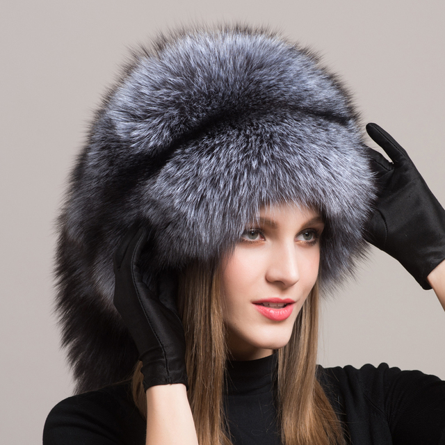 Winter Women Fur Cap Real genuine natural Fox Fur Hats Headgear Russian Outdoor Girls  Beanies Cap ladies fashion cap