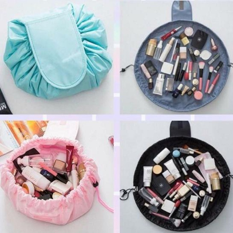 Wholesale Foldable Travel Cosmetic Case Women Drawstring Makeup Bag Functional Cosmetic Gift Pouch DOM1020