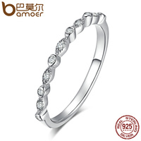 BAMOER Authentic 925 Sterling Silver Dazzling AAA Zirconia Stackable Ring For Women Wedding Jewelry Girlfriend Gift