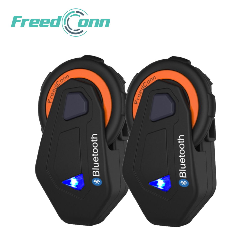 FreedConn 2 set Helmet Bluetooth Intercom Motorcycle Interphone Riding Headset At The Same Time 1500M Full Duplex System with FM bluetooth helmet intercom t rex 8 riders waterproof full duplex motorcycle group talk system 1500m bt interphone headset with fm