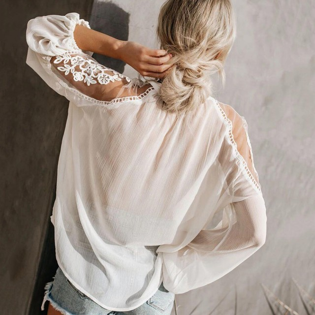 Sexy Lace Mesh Shirt Embroidery Patchwork Women Casual Long Sleeve Tops Chiffon Blouse Ladies Loose Tops Shirts Female Blusas 2