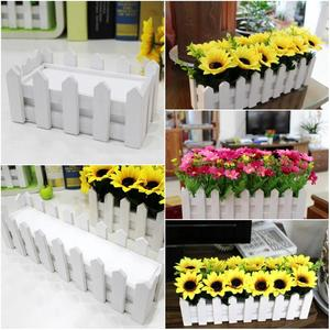 Image 5 - Wooden Fence Flower Pot Hanging Garden Basket Planter Plant fence artificial flowers Boxes For Wedding Home Decor