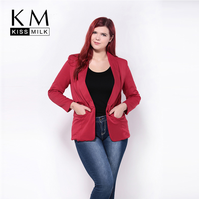7f3c79205ac Kissmilk Plus Size New Fashion Women Turtle Neck Pocket Slim Big Size Casual  Small Suit Coat