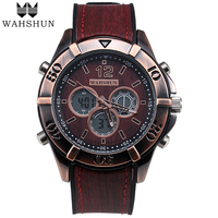 Fashion Men Watches Leather Analog Digital Watch Dual Time Wristwatch Vintage Casual Watch Men Clock Male